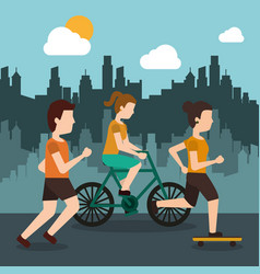 sporty people athletic with city background vector image