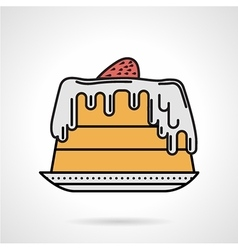 Strawberry pie flat color icon vector image