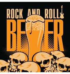 beer and rock n roll vector image vector image