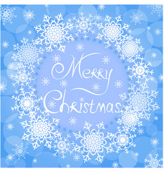 blue christmas background of snowflakes vector image vector image