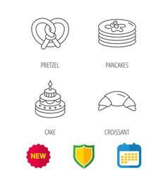 croissant pretzel and pancakes icons vector image vector image