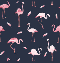 pink flamingo birds flock feather seamless pattern vector image vector image