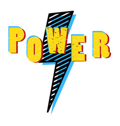 power word in pop art bright colors shirt print vector image