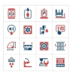 Set color icons of shower cabin vector image