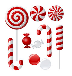 set with different red and white candies vector image