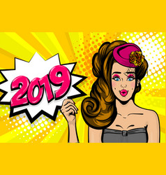 2019 sexy brunette lady pop art in hat vector image