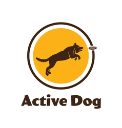 Active dog logotype Dog silhouette isolated on vector image