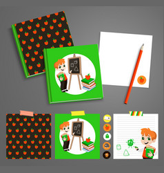 Back to school printable set with pupils vector