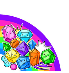 background with cute kawaii crystals or gems vector image