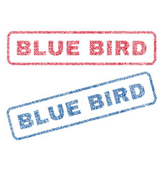 blue bird textile stamps vector image