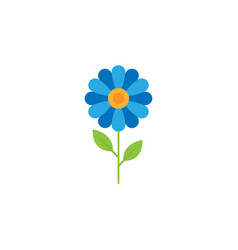 blue flower flat icon vector image