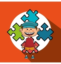 boy kids puzzle icon vector image