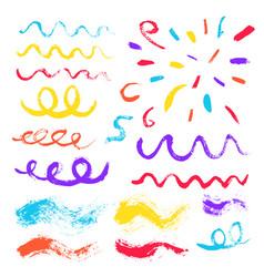 Brush strokes confetti design elements vector