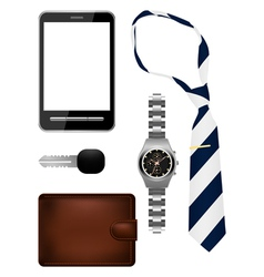 Business man accessories set vector