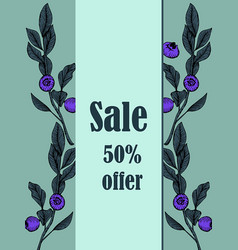 card sale leaves and blueberries vector image