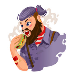 Cartoon color character person hipster man eating vector