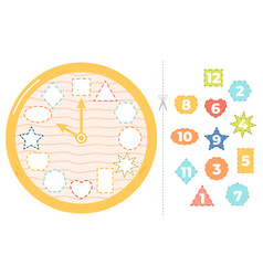 children clock puzzle game educational time vector image