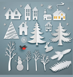 Christmas paper cut elements vector