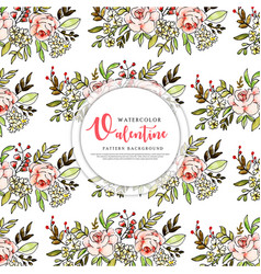 colorful watercolor valentine pattern background vector image