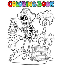 Coloring book with pirate topic 8 vector