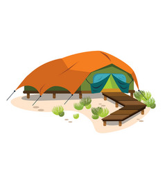 Comfortable modern tent poster vector