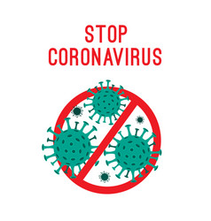 coronavirus icon with red prohibit stop sign vector image