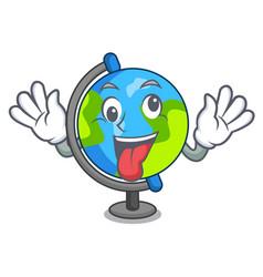 Crazy globe mascot cartoon style vector