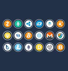 Cryptocurrency icon collection vector