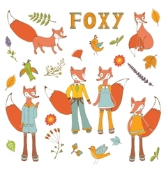 Cute colorful foxes characters set vector image vector image