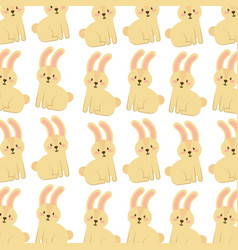 cute forest rabbit animal seamless pattern image vector image