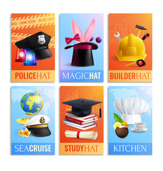 different professions hats cards set vector image