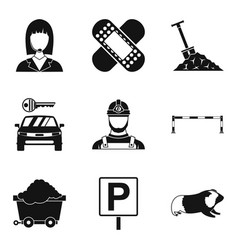 Difficult work icons set simple style vector