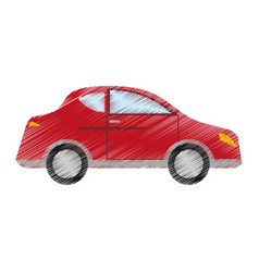 drawing red car sedan vehicle transport vector image