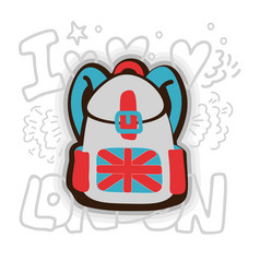 English backpack cartoon vector