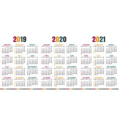 English calendar 2019 - 2021 vector