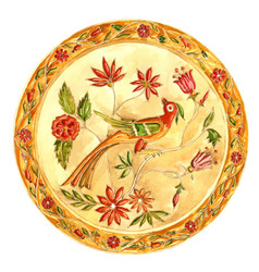 fabulous bird decorative plate in gzhel style vector image