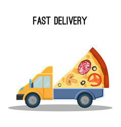 Fast delivery advertisement banner with huge piece vector