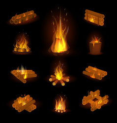 Fire flame or firewood fired flaming vector