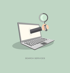 flat design with icons search services vector image