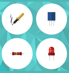 flat icon device set of recipient receptacle vector image