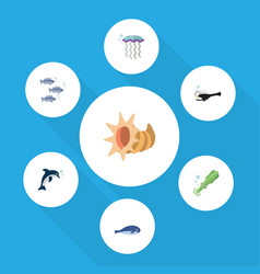 Flat icon sea set of cachalot fish playful fish vector