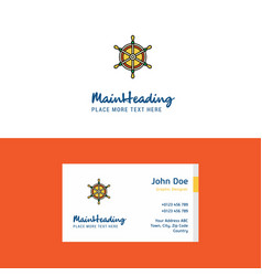 flat steering logo and visiting card template vector image