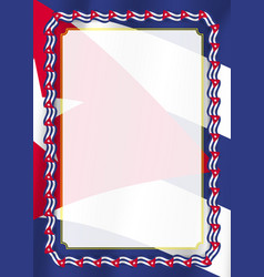 Frame and border of ribbon with cuba flag vector