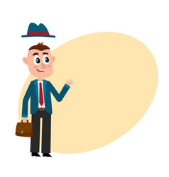 Funny businessman with removable hat holding vector