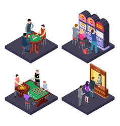 gambling casino isometric composition with vector image