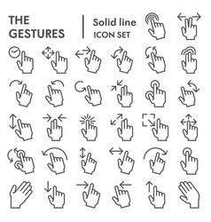 Gestures line icon set hand symbols collection vector