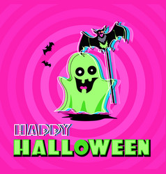 ghost halloween greeting card vector image