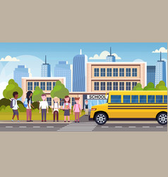 Group of mix race pupils walking in yellow bus vector