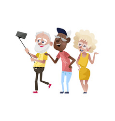 group of smiling old people doing selfie vector image