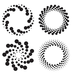 Halftone circles of dots twisted spirals vector image